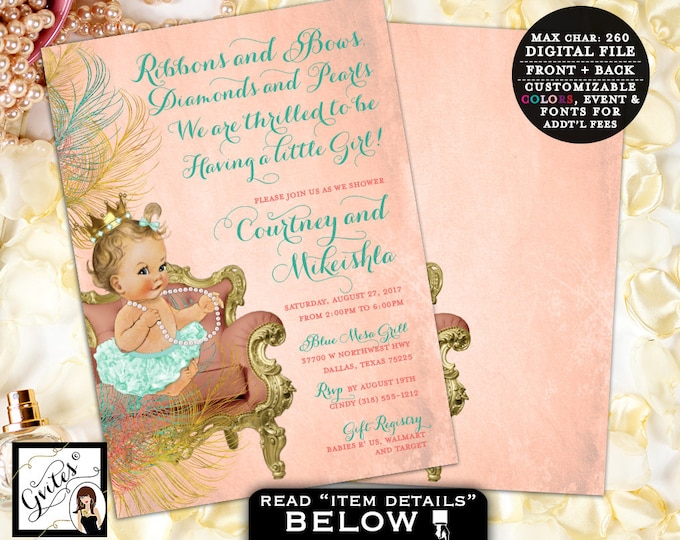 Coral and Mint baby shower, coral and gold princess baby invitations, girl vintage invitation, double sided, 5x7, Digital Only!