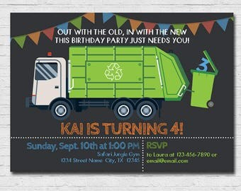 Garbage Truck Invitation Garbage Truck Birthday Party Recycle Truck Invite Boy Trash Bash Recycling Party Garbage Day Thank You Card Modern