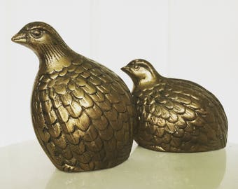 Set of Two Solid Brass Vintage Quails