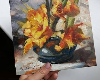 Orange gladiolus oil painting original art Floral artwork Orange art flower Unique art painting Birthday gift For her Small picture
