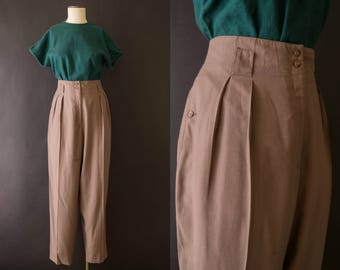 vintage 1980s pants / 80s high waisted rayon trousers / Liz Claiborne / medium