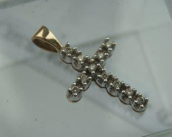 9ct white gold genuine diamond cross