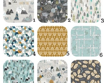 CRIB Bedding -Max's Adventure Awaits - Mountain, Map, Trees, Forest, Woodland Nursery Bedding Gray, Blue, Mustard- Stokke Sheets,Crib Sheets