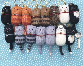 Fat Cat Hand Knitted Keyring Bagcharm