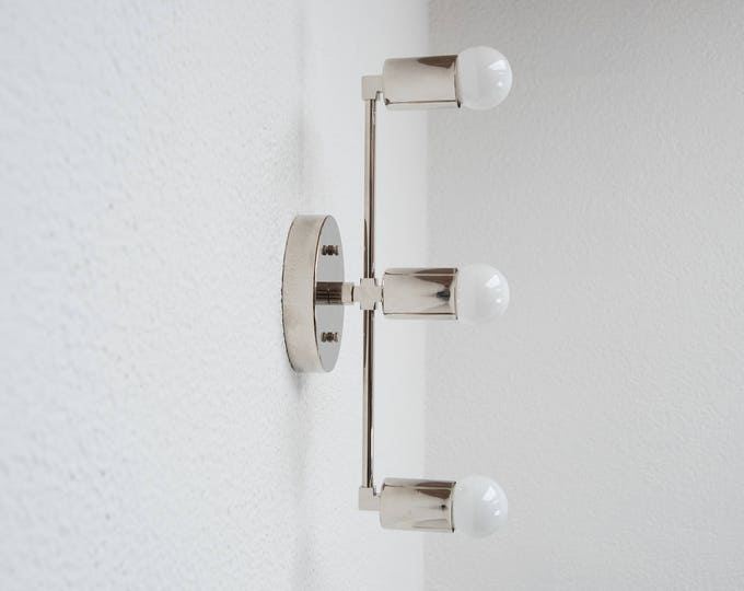 Free Shipping! Vertical Wall Sconce Vanity Polished Nickel 3 Light Modern Mid Century Industrial Art Light Bathroom Chrome UL Listed
