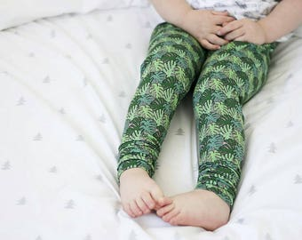 Baby Leggings, Monstera Leaf, Toddler Leggings, Girls Leggings, Kids Clothes, Handmade, Children's Clothes, Exclusive Fabric, Trousers, Gift