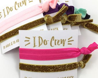 LIMITED TIME SALE | Bachelorette Party Favors | Bridesmaid Gift | Will You Be My Bridesmaid Gift | Bachelorette Hair Ties | Light Pink Gold