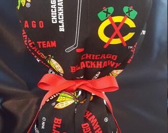 Blackhawks NHL Chicago Blackhawks Hockey PonyTail Tie Surgical Scrub Hat