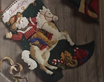 Bucilla Felt Christmas Stocking Kit Cowboy Santa