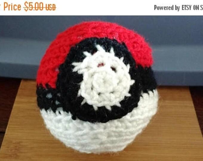 Retrocon Sale - Hand Crocheted Pokeball - 5 inches