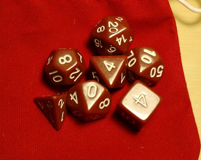 Basic Brown - 7 Die Polyhedral Set with Pouch