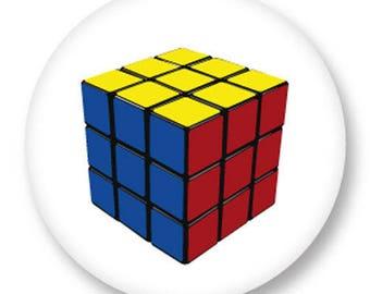 X 1 Cabochon Rubik's Cube metal 25 mm