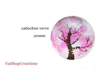 X 1 tree of life glass Cabochon 20mm fuschia