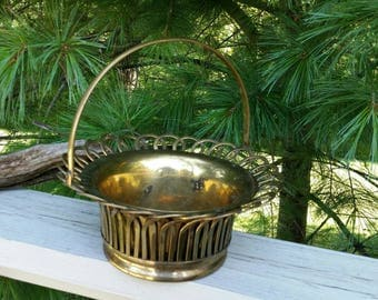 Brass Basket Planter with Loop Design Edge & Brass Handle
