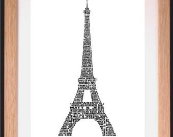 Personalised Eiffel Tower Word Art Gift