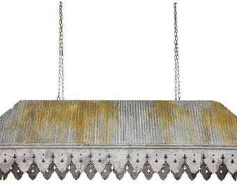 Galvanized Tin Roof with Rust Ribbed Antique Style Big Chandelier Old Building Parts