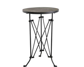 Old Wood Top & Iron Round Table w Bronze Finish, Restoration Hardware Campaign