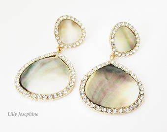 Pretty Abalone Shell and Rhinestone Earrings, Abalone Earrings, Shell Earrings, Abalone Earrings, Gold Abolone Earrings, Abolone Jewelry