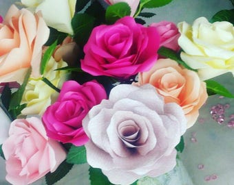 One Dozen Paper Roses in shades of pink with artificial foliage Dark Pink Light Pink Cream Gift wrapped for special occasions and gifts