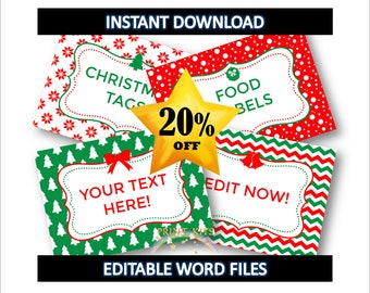 Christmas Labels - Christmas Food Labels - Christmas Tags - Instant Download. Edit with Word! Christmas Party Supplies PK_DL444