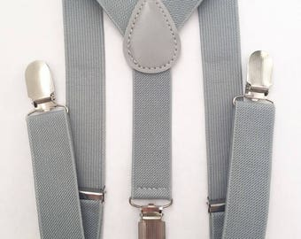 FREE DOMESTIC SHIPPING! Gray Y-Back suspenders fit 6 months to adult