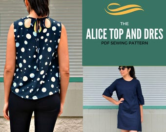 The Alice Top, tunic and dress PDF sewing pattern and tutorial for women.  Sizes available in 4 to 22 including plus size