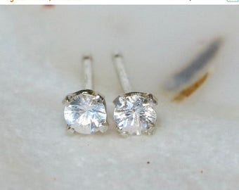 White Sapphire Tiny Stud Earrings - Genuine Sapphire Sterling Silver 3mm Earring Posts