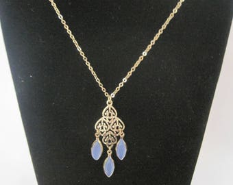 Vintage Gold Tone and Blue Necklace