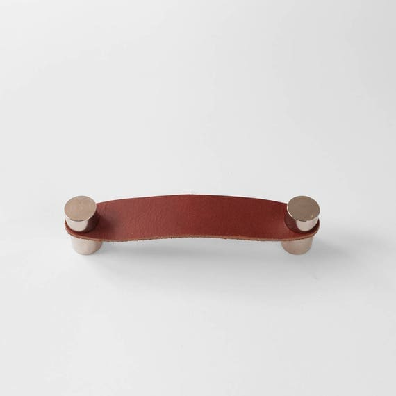 Cassidy Handle - Nickel Plated + Rustic Red Leather