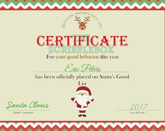 Official Santa Nice list certificate