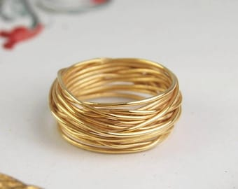 ON SALE NOW Solid Gold Ring, Gold Wire Ring, Wire Wrapped Ring, Gold Wire, Gold Ring, 18k Solid Gold, Real Gold, Ring, Solid Gold Jewelry, S