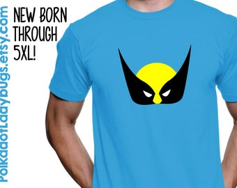 Wolverine Mask X-Men T-shirt - More Color Options - New Born through 5XL Available