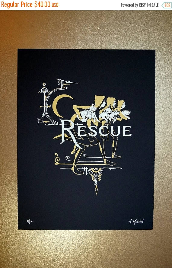 "ON SALE Silkscreen Print, 1st Edition ""Rescue"""
