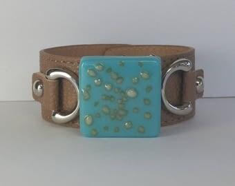 Turquoise Cream Cuff Bracelet, Fused Glass