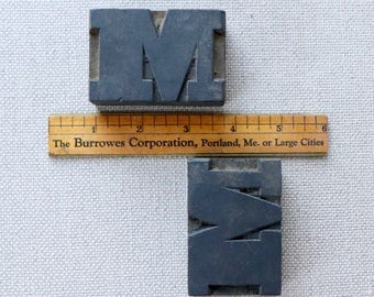 Vintage Wood Letterpress Block Letter M - SOLD INDIVIDUALLY, Vintage Wooden Letterpress Capital Letter M, Vintage Typeset Letter M