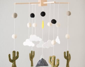 Cactus Crib Mobile Nursery, Baby Mobile Felt, Cactus Nursery Decor, Mobile