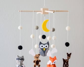 Crib Mobile Nursery, Baby Mobile Felt, Animal Nursery Decor, Forest Mobile, Mobile