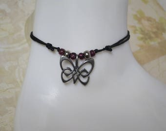 Buttterfly charm anklet , adjustable cord. CCS194