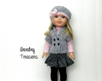 14 inch doll clothes hand knitted sweater vest and hat made to fit like wellie wishers doll clothes