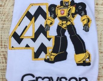 Transformers inspired Shirt - Transformers inspired Birthday Shirt - Bumblebee inspired Shirt