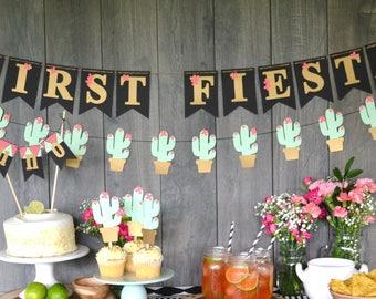 first fiesta banner, fiesta themed banner, fiesta turning uno party banner, let's fiesta birthday party banner