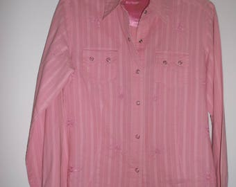 Ladies Vintage Wrangler Ultra Twenty X Embroidered Pearl Snap Western Show Shirt Size Medium