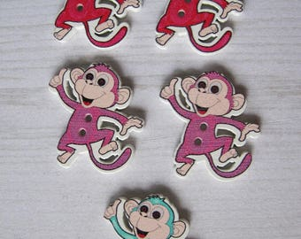 Set of 4 funny monkey wooden buttons