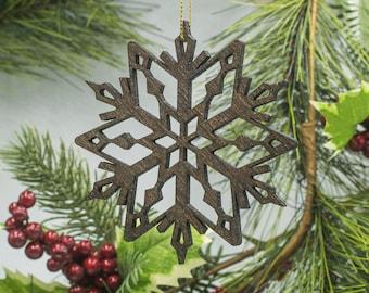 Set of 3 Glitter Wooden Snowflake Christmas Ornaments - Glitter Snowflake Wooden Ornaments - Snowflake Ornament Set - Wood Snowflakes