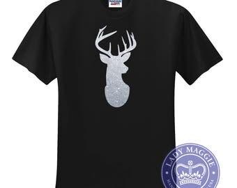 Silver Glitter Deer Head T-Shirt - Silver Stag Head Tshirt - Glitter Deer Head Silhouette Tee Shirt - Christmas Deer - Silver Glitter Shirt