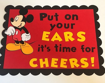 Mickey Mouse birthday party sign. Mickey clubhouse cheers sign. Mickey Mouse birthday party decor .
