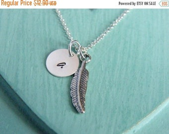 SALE Personalized Feather Necklace, Feather Necklace, Silver Monogram Feather Necklace, Handstamped Necklace, Monogram Necklace, Initial Jew
