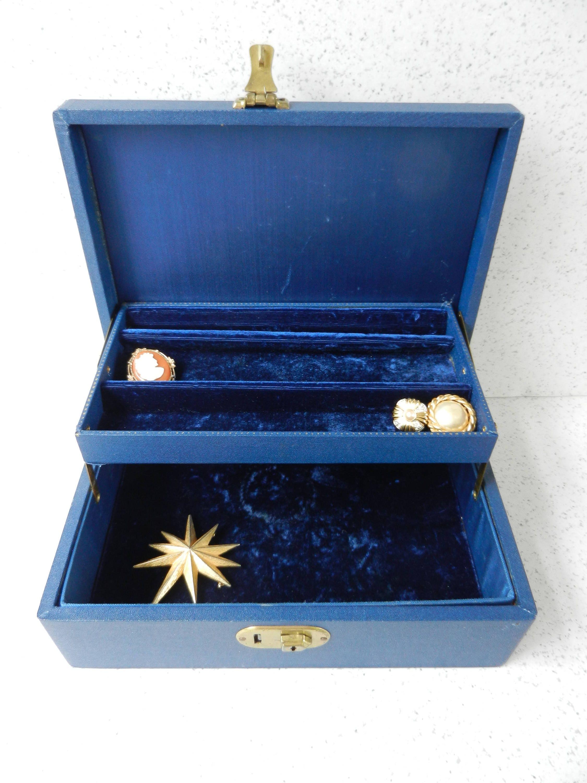 Navy blue jewelry box with key jewelry storage men 39 s or for Jewelry box with key