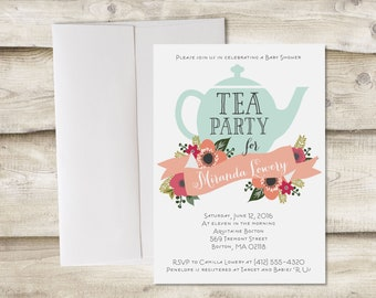 Tea Party Invitation, Baby Shower Tea Party Invitation, Baby Sprinkle Tea Party Shower, Bridal Shower Tea Party, Tea Party Baby Shower