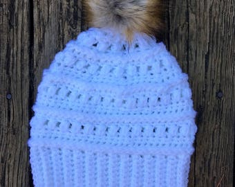 Beanie in White with Faux Fur Pom // Juneberry Beanie // Ready to Ship